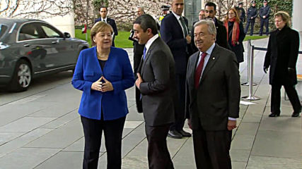 Germany: Merkel and Guterres greet UAE FM as he arrives for Libya peace talks
