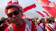 Brazil: Euphoric Peru fans arrive at the Maracana ahead of Bolivia match