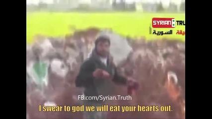 Бунтовник от Свободната Сирийска Армия изрязва и изяжда сърцето на сирийски войник