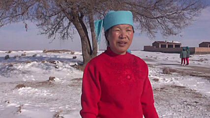 Elderly yoga practitioners show their skill and resilience in snowy Chinese village