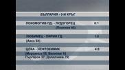 """""""Локомотив"""" (Пд) – """"Лудогорец"""" 0:1; """"Любимец"""" – """"Пирин"""" (ГД) 1:0"""