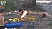 No excuses!!! Мацки тренират зверски на лостове!