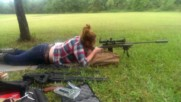 Pretty much girl shooting a rifle first time