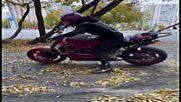 Russian stunt girl pulls off wheelie mind-blowing tricks on motorbike