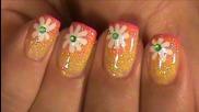 Маникюр за къси нокти летни цветя