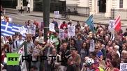 UK: Pro-Syriza protesters swamp German Embassy in London