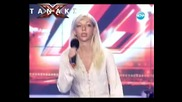 X Factor Bulgaria - Mari - Girl falls off stage singing _you give love a bad name_
