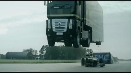Тир скача над болид от F1!