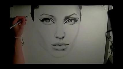 Рисуване на Angelina Jolie