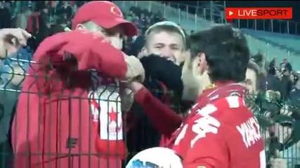 Радостта на играчите след победата над Левски