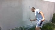 Боядисване на ограда с фасадна боя с.белащица