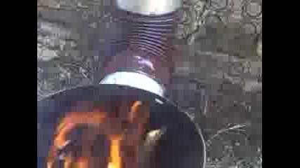 Преработка на нафтова печка за твърдо гориво