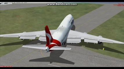 Кацане на летище в Blackpool със Boeing 747 Qantas
