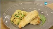 Пилешки шницели с магданозено песто - Бон Апети