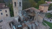 Italy: Drone footage shows devastating aftermath of twin quakes