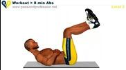 8 минутна тренировка за корем (8 вида коремни преси) Level 2