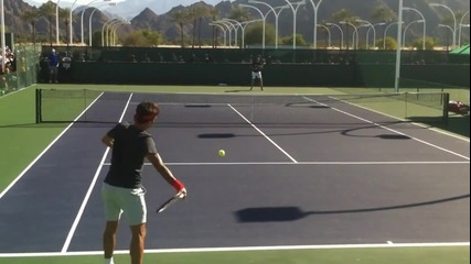 Federer and Fish Tennis Practice at Indian Wells 2013
