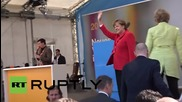 Germany: Merkel heckled by Die Partei protesters at CDU election event