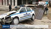Патрулка се заби в дърво след катастрофа в Пловдив