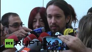 Spain: Podemos' Iglesias meets with Barcelona's new mayor Ada Colau at City Hall