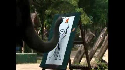 Страхотно слон рисува