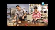 Свинско кордон бльо, салата от краставици, фунийки с ванилов крем и ягоди. - Бон Апети (26.04.2013)