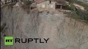 Италия: Дрон заснема къща, застрашена от падане в Средиземно море