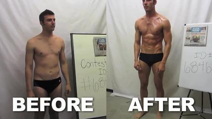 Момче преди и след 12 седмици фитнес