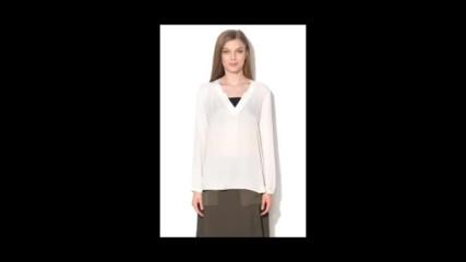 Esprit Бяла блуза с шпиц деколте
