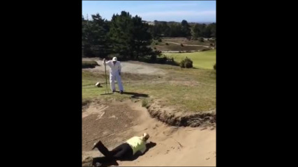 Women golfer tries doing a backflip but takes a faceplant...