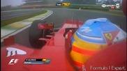 F1 Гран при на Бразилия 2012 - Alonso губи контрол над болида и за малко не се блъска [hd][onboard]
