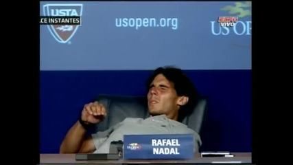 Ужас ! Рафа Надал припадна по време на пресконференция