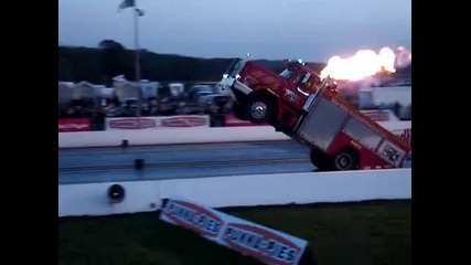 Backdraft wheelie fire truck at Santa Pod
