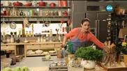 Ригатони с пилешки дробчета, ригатони със спанак, салата от моркови, постни бонбони (24.03.2015г.)
