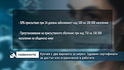 Кунчев с два варианта за мерки: Здравни сертификати за достъп или ограничения в работата