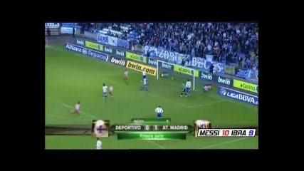 Dep. La Coruna - Atletico Madrid 0 - 1 Kun Aguero goal 2009 11 21