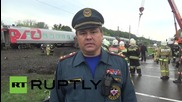 Russia: Train and truck collide, injuring 10