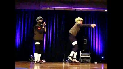Naruto Dance Off Kakashi vs Minato-какаши се хваща за х*я