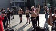 Germany: FEMEN activists in Berlin protest Turkey's withdrawal from Istanbul Convention