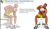 Упражнение за бицепс с дъмбел от седнало положение
