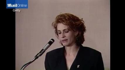 """Джулия Робъртс с благодарствена реч към майка си на """"златен Глобус"""" 1991"""