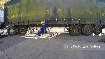 Тестване на най-безопасното колело на света