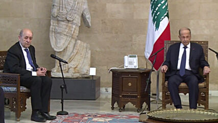 Lebanon: President Aoun meets French FM Le Drian in Baabda Palace