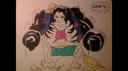 Как да нарисуваме Луфи Gear 4 (one Piece)