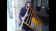 Мъж свири на желязна ограда