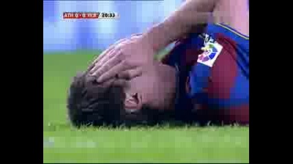 Меси получава удар в лицето в мача с Атлетик Билбао