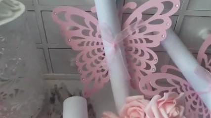 Красиви сватбени покани свитък в розово от Pokanilux.com