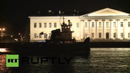 Russia: St Pete's Palace Bridge opens up for first time this year