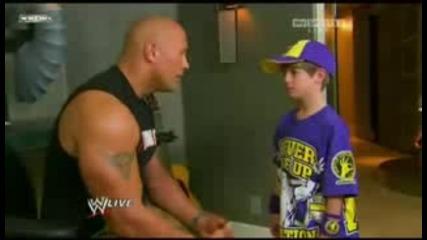 Wwe скалата разплаква малък фен на John Cena