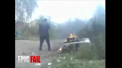 Пияница си подпали задника хахах